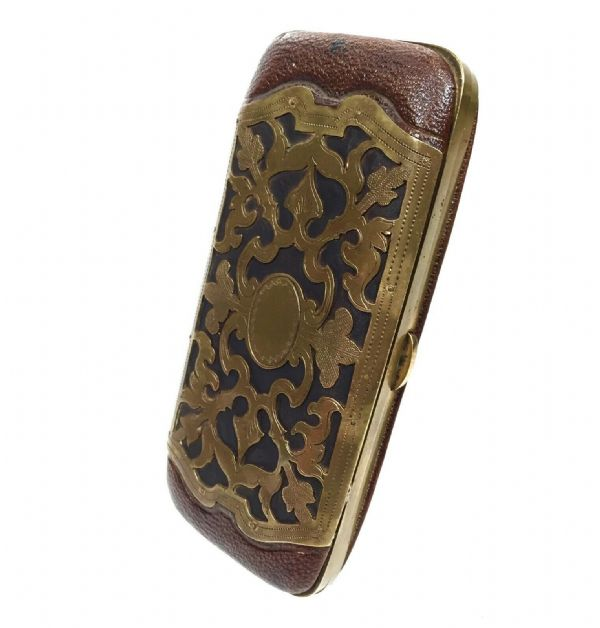 Antique Leather & Brass Wallet / Purse / Card Case / Edwardian / Brown / Blue